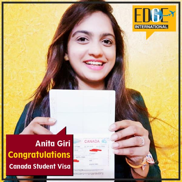 Congrats to Anita Giri for getting student visa endorsement of Canada